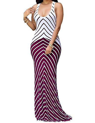 Shekiss Sleeveless Striped Burgundy Xxx Large Overview