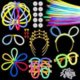 "Satkago Party Sticks Glow Sticks Party Favors for Kids Adults, Glow in The Dark Light Sticks Bulk 100 Count 8"" and 126 Connectors for Bracelets Eyeglasses Flower Balls Hair Hoop"