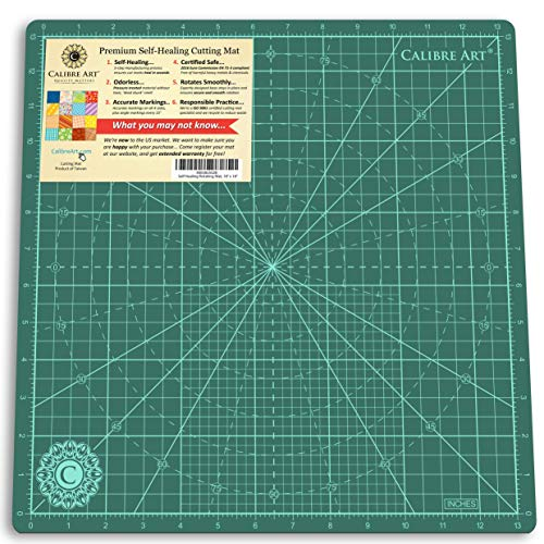 (Calibre Art Rotating Self Healing Cutting Mat, Perfect for Quilting & Art Projects, 14x14 (13