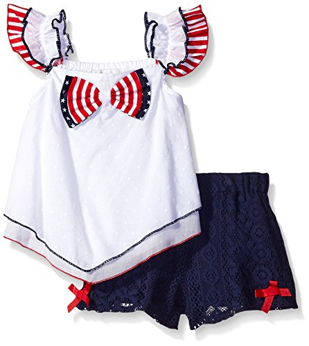 Rare Editions Little Girls' Holiday Stars and Stripes Short Set, White/Navy, (Rare Editions Holiday Dress)