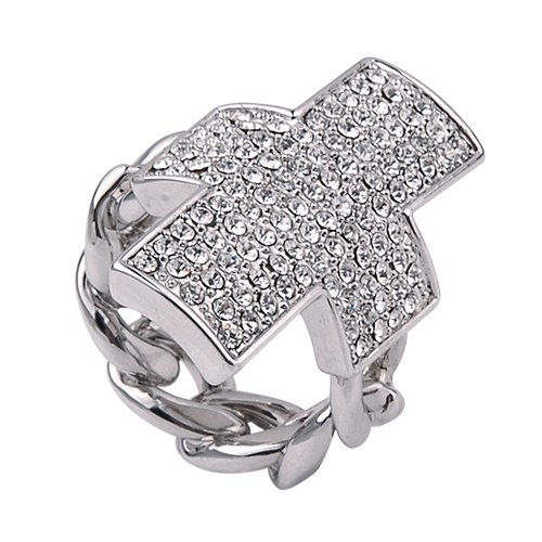 Large White Gold Cross Cocktail Ring by VictoriasJewelry (8)