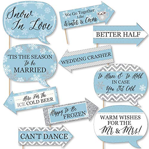 Funny Winter Wonderland - Snowflake Holiday Party & Winter Wedding Photo Booth Props Kit - 10 Piece
