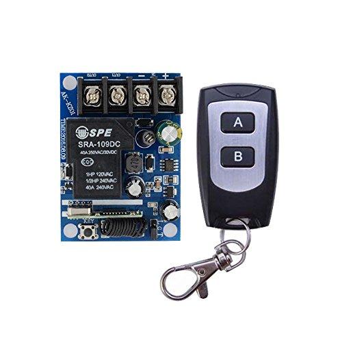 Lejin DC 12V-48V 24V 40A 1 channel radio remote control switch relay range voltage receiver transmitter 2 button control by Lejin