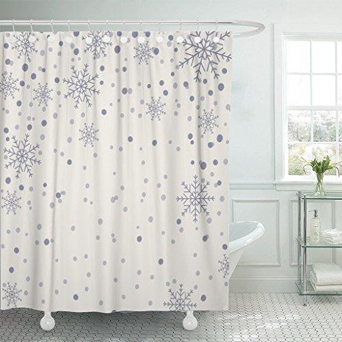 Emvency Shower Curtain Blue Beautiful Holiday Snowflake Pattern