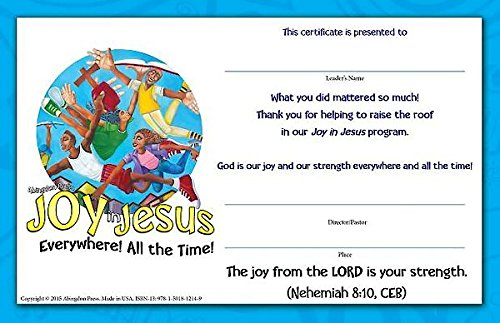 Vacation Bible School Vbs 2016 Joy In Jesus Leader Certificates Pkg Of 10 Everywhere All