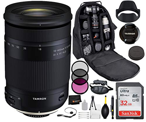 Tamron 18-400mm f/3.5-6.3 Di II VC HLD Lens for Nikon with Bundle Package Deal –3 Piece Filter Kit + SanDisk 32gb SD Card + Backpack + More