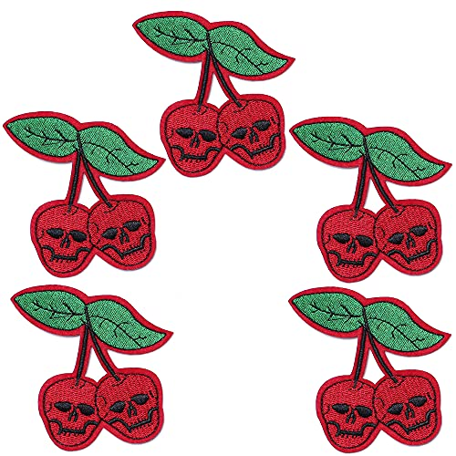 TACVEL Red Cherry Ghost Skeleton Skull Embroidered DIY Sew on / Iron on Patches for Kids Clothing, Vest, Jackets, Backpacks, Caps, Jeans to Repair Holes / Logo