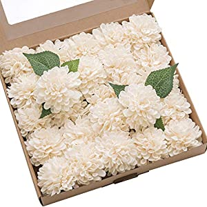 Ling's moment 25pcs Cream Real Looking Fake Dahlia Artificial Flowers w/Stem for DIY Wedding Bouquets Centerpieces Arrangements Party Baby Shower Home Decorations 75