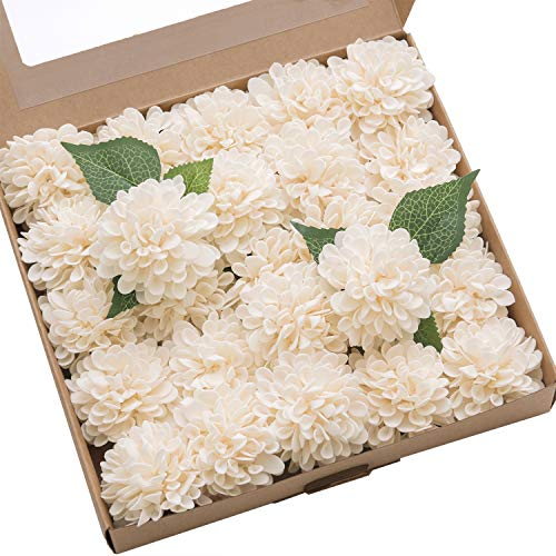 - Ling's moment 25pcs Cream Real Looking Fake Dahlia Artificial Flowers w/Stem for DIY Wedding Bouquets Centerpieces Arrangements Party Baby Shower Home Decorations