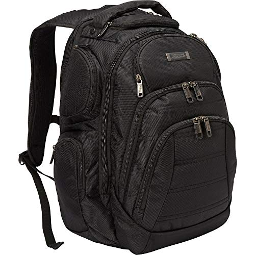 "Kenneth Cole Reaction 1680d Polyester Double Gusset 17.0"" Laptop Backpack, Black"
