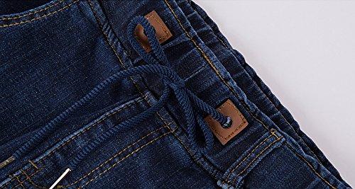 Azul Elwow Jogger Waist Boyfriend Comfy con largos Pantalones Pants bolsillos Jeans Denim Drawstring Lady's Elastic RrqRSF6w