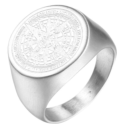 (Oakky Men's Stainless Steel Stars Vintage Round Compass Signet Ring Silver Size 10)