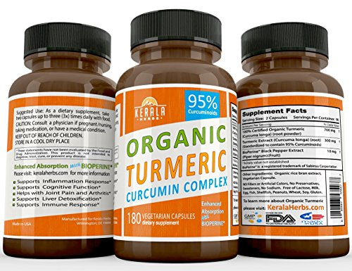 Kerala Herbs TURMERIC CURCUMIN 180ct 2100mg BioPerine 95% Curcuma Longa Best Absorption w Black Pepper Extract, Anti-Inflammatory, Joint Pain Relief, Immune System Liver Detox Booster Organic Capsules