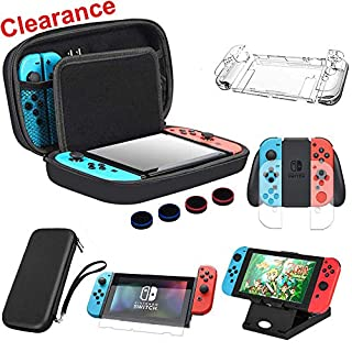 BOENFU 13 in 1 Switch Accessories Bundle for Nintendo Switch Games Kit with Travel Carry Case,Screen Protector,Joy-Con Grips Caps,Controller Case,Sheets,Joy-Con Cases,Play Stand,Portable Strap