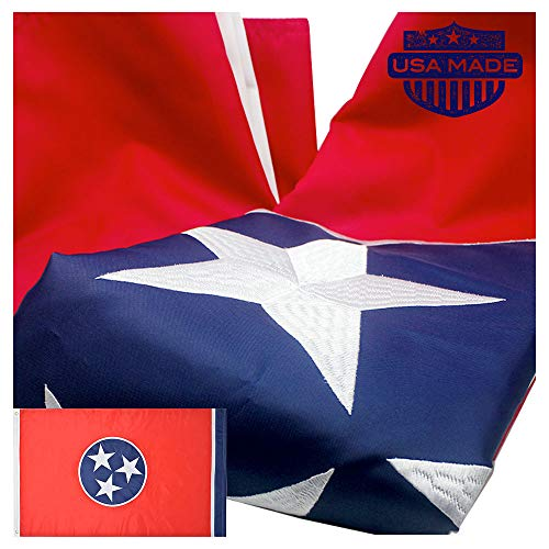 Tennessee State Flag (VSVO Tennessee State Flag 3x5 Ft - Made in USA - 300D Long Lasting Nylon Premium Outdoor Embroidered Flag, Sewn Stripes and Brass Grommets, UV Protected.)