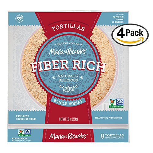 Low Carb Tortillas, 3 Net Carbs, Non-GMO Project Verified, Maria and Ricardo's Fiber Rich Whole Wheat Tortillas, Certified Vegan, Keto-Friendly, 7.9 oz. (4 Pack) (No Flour Wheat)