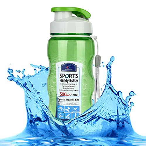 Sport Water Bottle,Hongxin Portable Travel Sport Tea Water Seal Bottle 500ml Travel Bottle Outdoor Picnic Bicycle Bike Camping Kettle With Lid Handy Glass Bottles (Green)