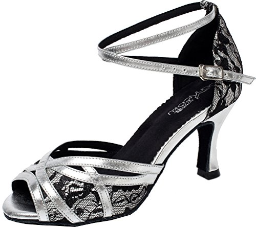 Heel Cha Tango shoes Q Womens toe Kitten cha Ballroom Abby 6207 Dance Grey Peep Lace Latin yXBzxq