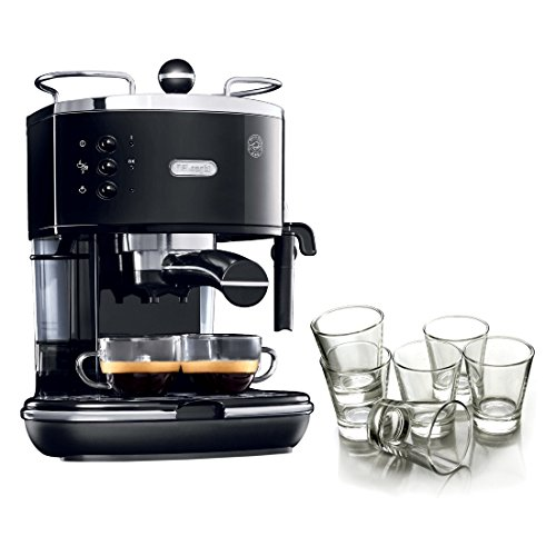 DeLonghi Icona Black Pump Espresso Maker with Free Set of 6 Italian Espresso Shot Glasses by DeLonghi