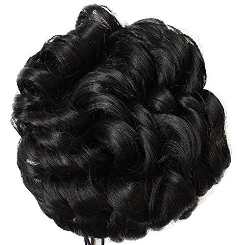 PRETTYSHOP BUN Up Do Hair Piece Hair Ribbon Ponytail Extensions Draw String Scrunchie wavy Black # 1 D100