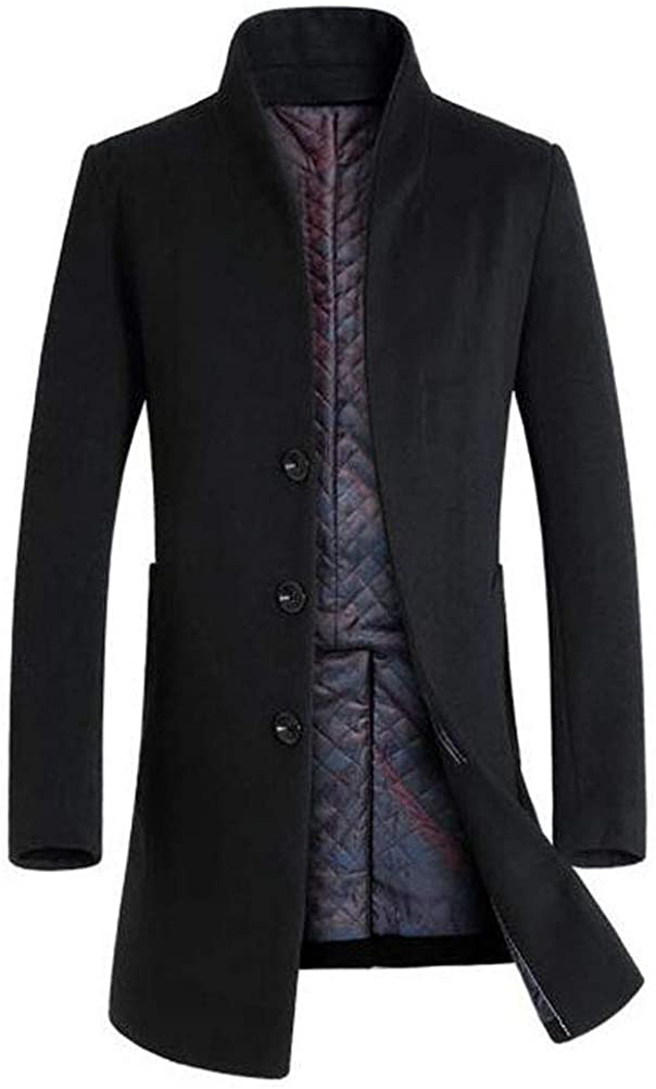 Mordenmiss Mens French Woolen Coat Business Down Jacket Trench Topcoat