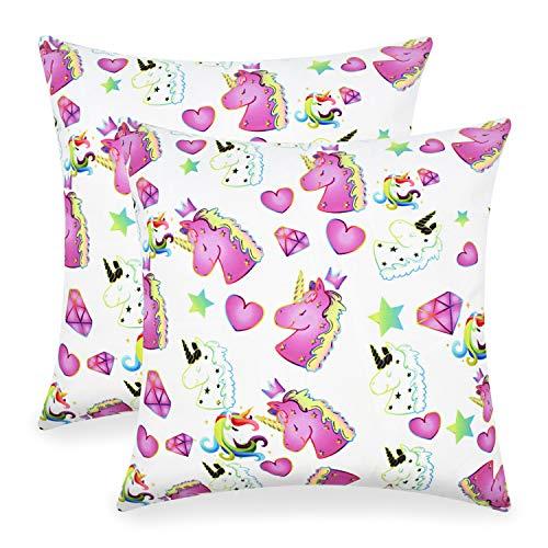 VIPbuy Set of 2 Unicorn Decorative Throw Pillow Cases for Kids Girls Women, Super Soft Short Plush Square Sofa Waist Pillowcases Cushion Covers 18