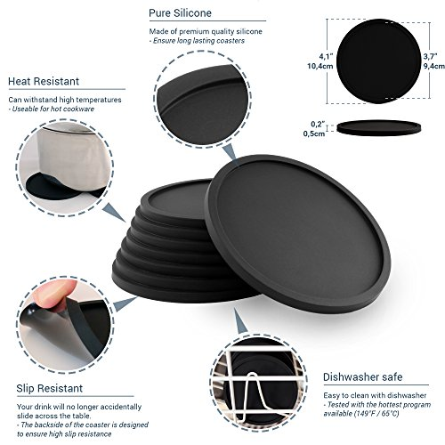 Large Product Image of Barvivo Drink Coasters Set of 8 - Tabletop Protection for Any Table Type, Wood, Granite, Glass, Soapstone, Sandstone, Marble, Stone Tables - Perfect Soft Coaster Fits Any Size of Drinking Glasses.