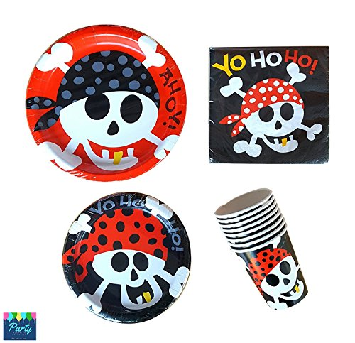 Pirate Party Supplies Pack - For 16 Guests Including Dinner Plates, Dessert Plates, Cups, and Napkins (Halloween Word Matching Game)