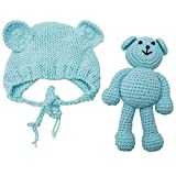 Newborn Baby Bear Hat Beanie with Bear Dolls Photography Accessories,Blue