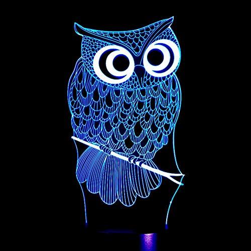 HRUIHKV 3 Colors Changing LED Night Lamp Cartoon Owl 3D Hologram Luminarias Red Blue Purple Changeable Mood Lamp 80cm Cable US EU Plug