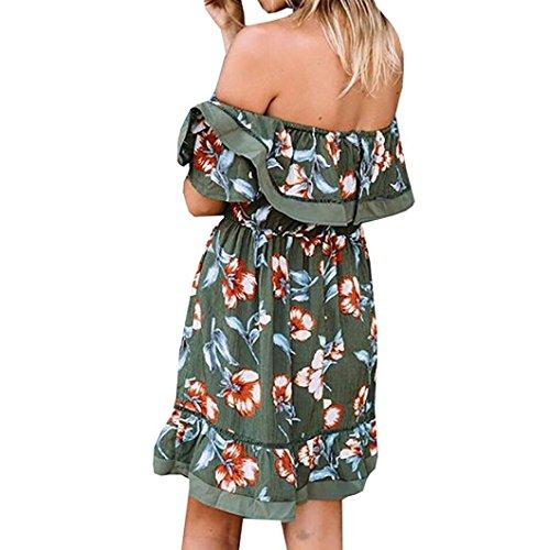 DOLDOA Mujeres Damas De Hombro Mariposa Draped Vestido Elegante Impresión De Cortocircuito Ejercito verde