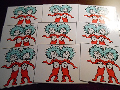 9 Glossy dr Suess Stickers, Thing 1 -
