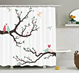 Ambesonne Love Decor Shower Curtain Set, Birds on The Tree Serenade Nostalgic Partners Ceremony Valentine's Romance Theme, Bathroom Accessories, 75 inches Long, Green Pink Brown