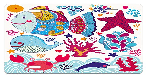 Fish License Plate by Ambesonne, Fish Motifs with Ethnic Tribal Effects and Starfish Crab Dolphin Animals Boho Design, High Gloss Aluminum Novelty Plate, 5.88 L X 11.88 W Inches, (Dolphin Motif)
