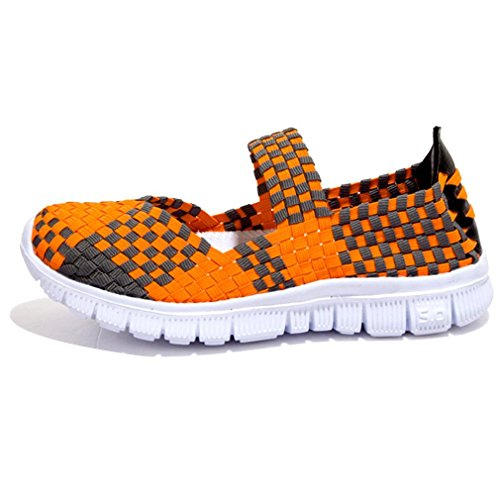 Women Comfort Minetom Breathable Loafer Orange Weight Sport Flats Trainer Woven Slip Shoes On Casual Summer Light Sandals Elastic Water dqqwRzAF