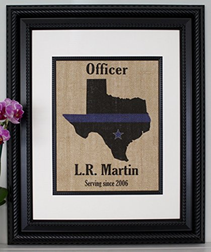 POLICE Gift Thin Blue Line across ANY US State - Personalized - State Police, Law Enforcement, Deputy, State Trooper - Home Decor on Burlap