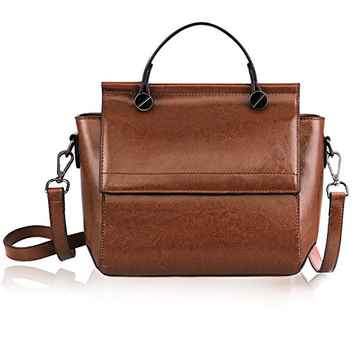 S-ZONE Women's Genuine Leather Small Shoulder Bag Top-handle Purse Cross Body Ladies Chic Handbag (Brown)