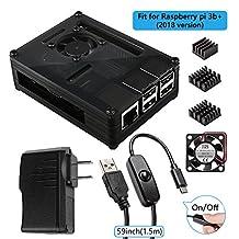 Smraza Black Raspberry Pi 3 Model B+ Case with Fan, 5V 2.5A Power Supply with On/Off Switch, 3pcs Heat Sinks, Compatible with Raspberry Pi 2, 3 Model B, 3 Model B+(B Plus)