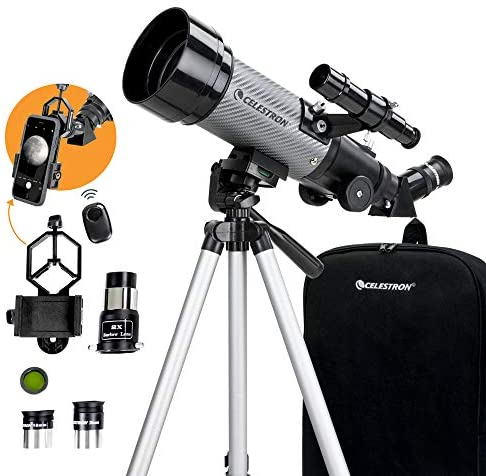 Celestron – 70mm Travel Scope DX – Portable Refractor Telescope – Fully-Coated Glass Optics – Ideal Telescope for Beginners – Bonus Astronomy Software Package – Digiscoping Smartphone Adapter