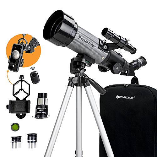 🥇 Celestron – 70mm Travel Scope DX – Portable Refractor Telescope – Fully-Coated Glass Optics – Ideal Telescope for Beginners – BONUS Astronomy Software Package – Digiscoping Smartphone Adapter