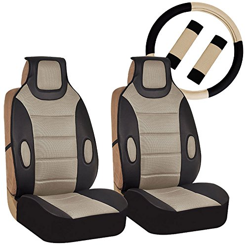 (FH GROUP FH-FB202102 Pair set Leatherette Seat Cushion Pads with Fabric 3D Airmesh with Steering Wheel and Seat Belt Pads, Beige / Black)