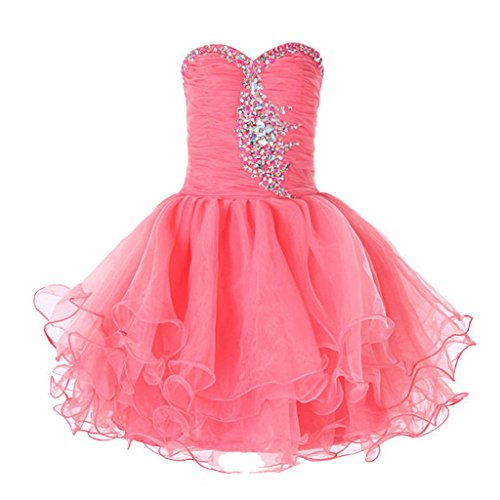 FAIRY COUPLE Big Girl's Organza Stapless Junior Bridesmaid Flower Girl Dress K0105 8 Coral by FAIRY COUPLE