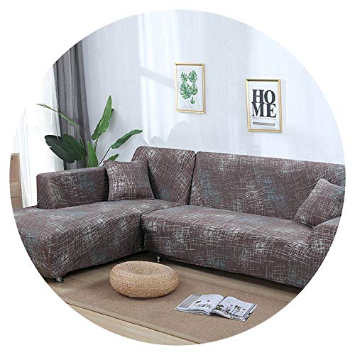(Sofa Cover Cotton Slipcover Elastic Couch Cover Sofa Covers for Living Room Fit L-Shape Corner Sectional Sofa (Need Order 2PCS),Color 1,Cushion Cover 2pcs)