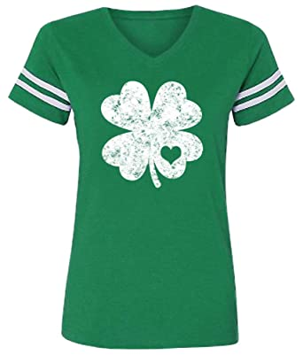 1a448236 St Patrick's Day Womens Funny Green T Shirt V Neck Clover Short Sleeve Tops  S