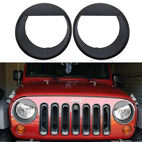 Bentolin Black Bezels Front Light Headlight Angry Bird Style Trim Cover For Jeep Wrangler Rubicon Sahara Jk 2007-2018