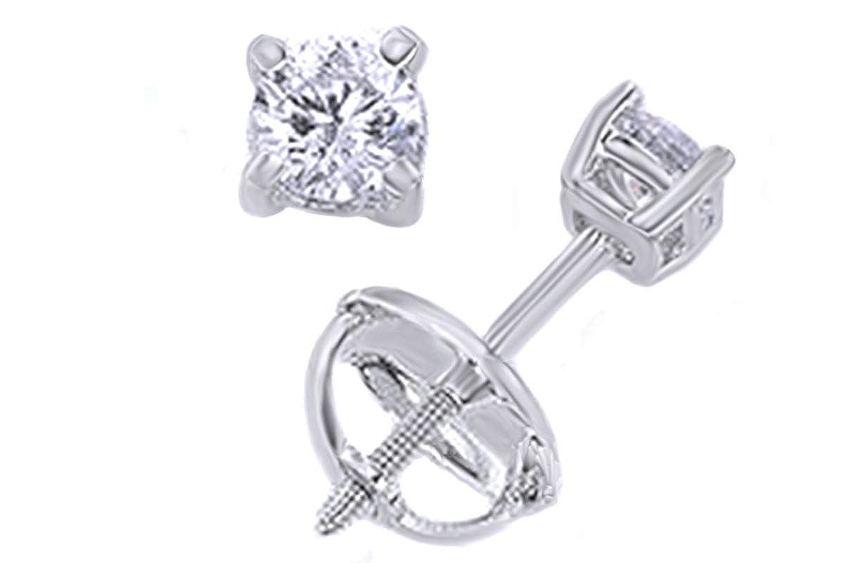 Weißszlig; natürlicher Diamant Solitaire Ohrstecker in 14 ct 585 Massiv Weißszlig; Gold (0,33 Karat Gesamtgewicht) 14 Karat (585) WeißGold