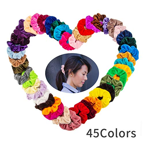 45 Pcs Hair Scrunchies Velvet Elastic Hair Ties Ropes Scrunchy Hair Bands for Women or Girls Hair Accessories - 45 Assorted Colors (45 PCS Velvet Hair - Color Pcs