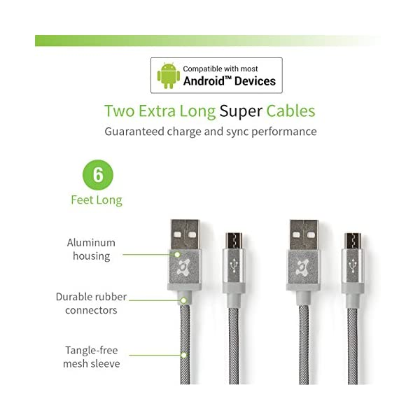 Ubio Labs 2 Pack 6ft Tangle Free Micro USB Cable Kit For Android Samsung HTC LG Motorola 6 Foot Long Woven Chargesync Cord With Dual USB Wall And Car Charger 24A 48A 24W