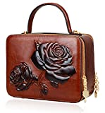PIJUSHI Women's Designer Rose Top Handle Satchel Cross Body Handbags 65440 (One Size, New Brown)