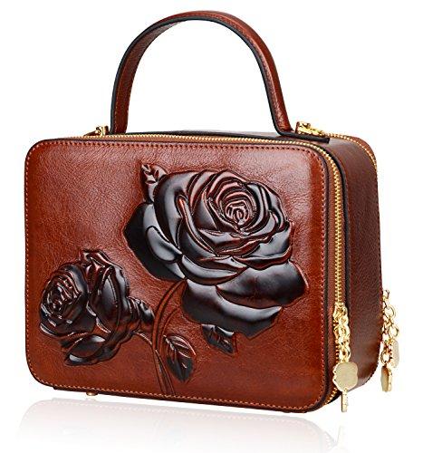 PIJUSHI Women's Designer Rose Top Handle Satchel Cross Body Handbags 65440 (One Size, New Brown) by PIJUSHI